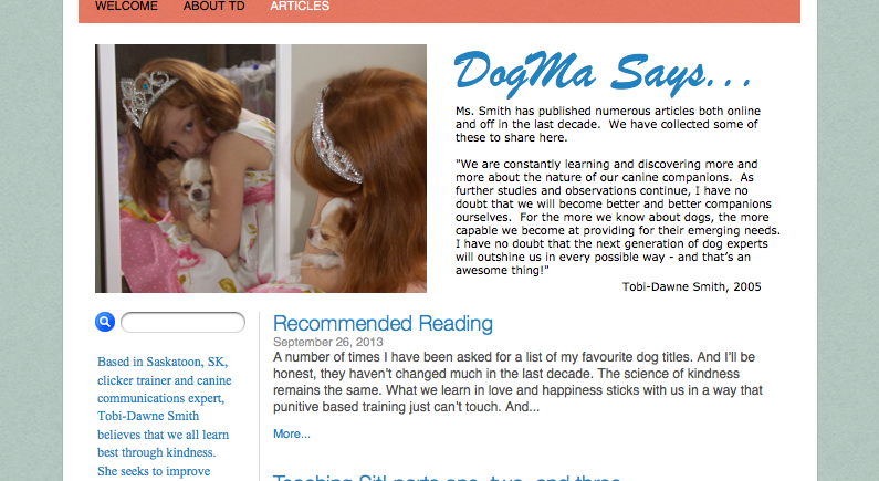 a screenshot of the advice page from noselicks.com featuring a photograph of a beautiful red haired child dressed as a princess and holding a beautiful small dog in a caring embrace.